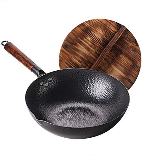 Vinbcorw Traditionelle Hand Hammered Carbon Steel Wok mit Stahlgriff und Deckel 12.6Inch / 32cm Stir Fry Pfannen für elektrische Induktion und Gasherd,Schwarz