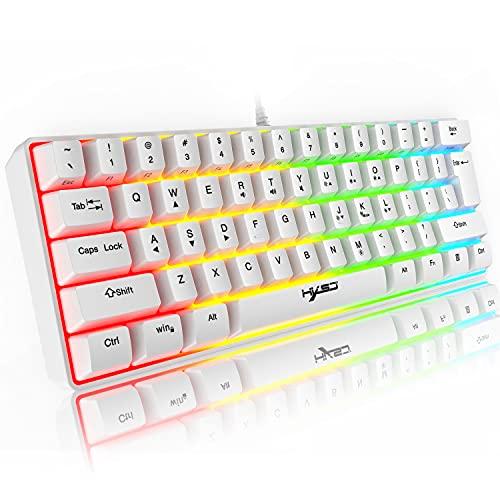 60% tastiera da gioco RGB cablata, 61 tasti mini tastiera portatile compatta con 11 Chroma RGB retroilluminato, ABS Floating Keycap, Full Anti-ghosting, USB Office/Game Tastiera meccanica