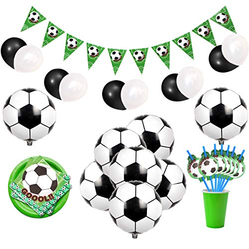 Decoraciones de fiesta temáticas de fútbol con balones de foil de fútbol, pancartas, servilletas y pajitas