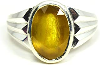 Jewelryonclick 5 Carat Natural Yellow Sapphire 925 Sterling Silver Ring For Men