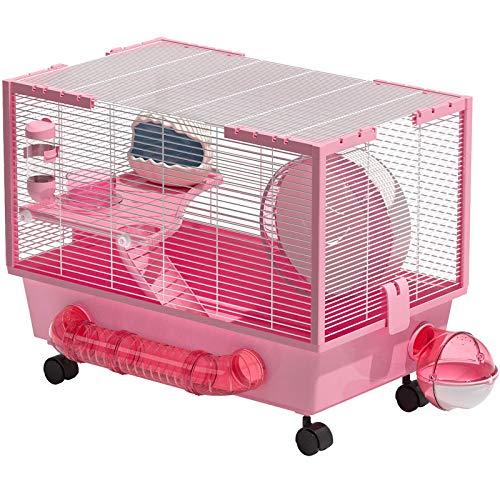 Rolife Hamster Jaula Grande | Jaulas para Hamster | Jaula Hamster rusocon Accesorios 60X36X45cm (Pink)