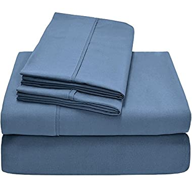 Bare Home Premium 1800 Ultra-Soft Microfiber Collection Sheet Set - Double Brushed - Hypoallergenic - Wrinkle Resistant - Deep Pocket (Queen, Coronet Blue)