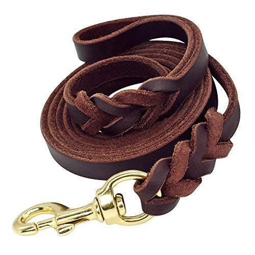 Beirui Braided Leather 6ft Dog Leash - 3/4 inch Heavy Duty Brown Training Lead