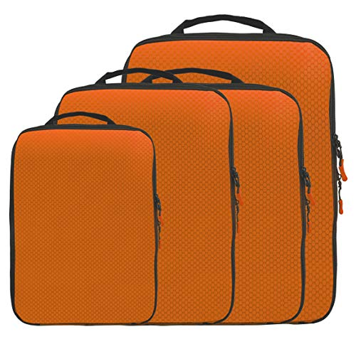 Magictodoor Dual Sided Compression Packing Cubes Separate Dirty Clothes Organizer (Orange,4 Set)