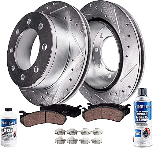 Detroit Axle - Front Drilled & Slotted Disc Brake Rotors + Ceramic Brake Pads...