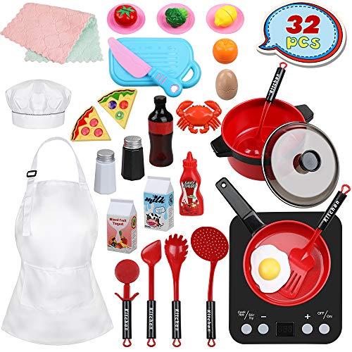 Anpro 32 PCS Kit de Cocina para Niños,Juguetes de Cocina Set,Juego de Cocina con Utensilios de Cocina,Juguete de Corte,Frutas,Vegetales,Delantal,Regalos de Fiestas, Cumpleaños, Navidad para Niños