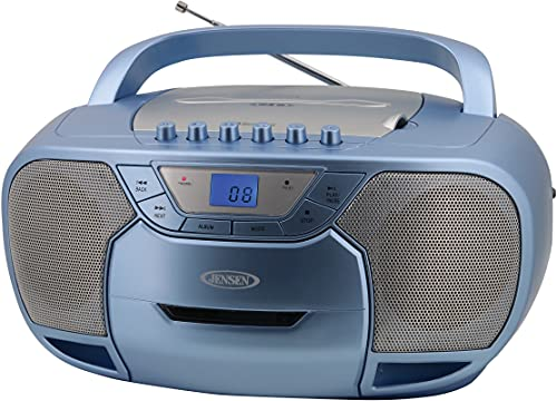 JENSEN CD-590-BL Portable Bluetooth Stereo MP3 CD Cassette Player/Recorder with AM/FM Radio