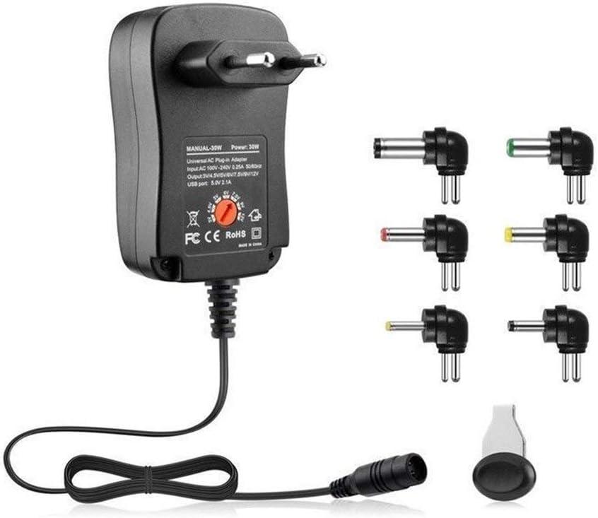 CandyTT 3-12V 30W 2.1A AC/DC Adaptador de Fuente de alimentación Adaptador de Cargador Universal con 6 enchufes Adaptador de Corriente regulado por Voltaje Ajustable (Enchufe Negro de la UE)