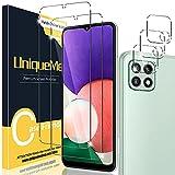 [2+3 Pack] UniqueMe Compatible con Samsung Galaxy A22 5G (No Galaxy A22 4G) Protector de Pantalla y Protector de Lente de cámara, Vidrio Templado [9H Dureza] [Sin burbujas] HD Film Cristal Templado