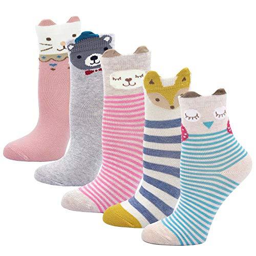 LOFIR Kinder Socken aus Baumwolle Mädchen Sneaker Socken Kleinkind Karikatur Niedliche Tier Socken Lässige Sport Schulen Laufen Socken Größe 20-34, für 2-11 Jahre, 5 Paare