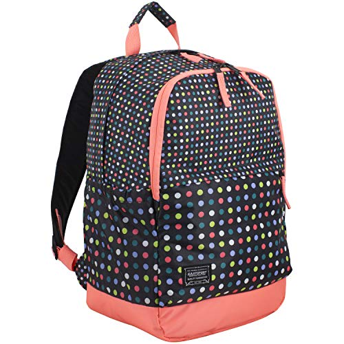 Eastsport Everyday Classic Backpack with Interior Tech Sleeve, Black/Peach Luster/Multi Color Dots