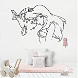 wZUN Etiqueta engomada de la Pared de la decoración de la habitación de la Sirena Linda Etiqueta del Vinilo del Papel Pintado de la habitación del bebé 42X58cm