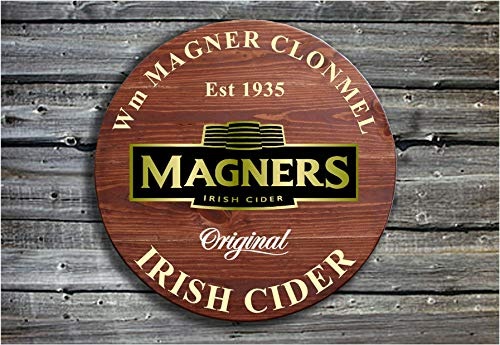 unknow Wall Art Magners Irish Cider, traditionelles Holzschild, tolles Vatertags- oder Geburtstagsgeschenk Barrel End Style Schild – Pub Werbeschild Holzschild, individuelles Geschenk
