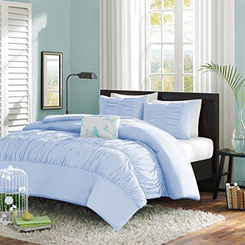 Scala SCALABEDDING Central Versammelt Rüschen Mimi mit Bettbezug/Tagesdecke 600TC Ägyptische Baumwolle Full Blau