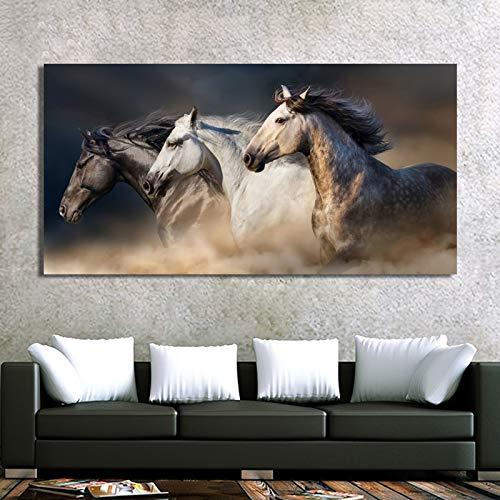 YuanMinglu Tres Caballos Corriendo Animal Lienzo Arte Pared Arte Cartel Imagen Sala decoración del hogar Lienzo Mural sin Marco Pintura 20x40 cm