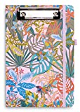 Vera Bradley Pink Mini Clipboard Folio with Refillable 9'x6' Lined Notepad, Interior Pocket, and Pen Loop, Rain Forest Fauna
