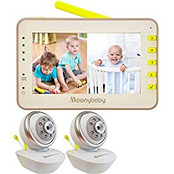 cheap Moonybaby Split 55 baby monitor, 2 cameras, split screen, pan / tilt pan camera without WiFi, wide angle …