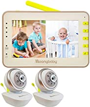 Moonybaby Split 55 Baby Monitor with 2 Cameras, Split Screen Video, No WiFi Pan Tilt Camera, Wide View Lens Included, 4.3 inches Large Monitor, Night Vision, Temperature, 2 Way Talk Back, Long Range