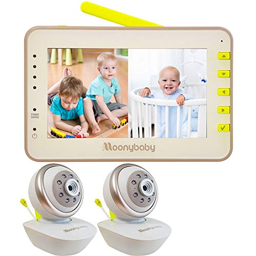 Moonybaby Split 55 Baby Monitor with 2 Cameras, Split Screen Video, Non-WiFi Pan...