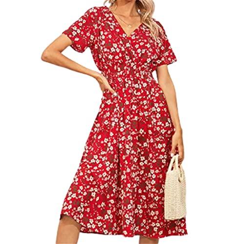 NMJKH Vestido de gasa floral de verano para mujer, cuello en V, manga corta, una línea, vestidos a media pierna atractivos (Color : Red, Size : Lcode)
