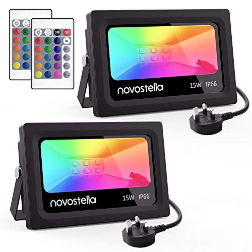 Novostella 2 Pack 15W LED RGB Flood Light, Coloured Floodlight with Remote Control, IP66 Waterproof, Dimmable Decorative Garden Light, 16 Colours 4 Modes, Outdoor Stage Landscape Lighting