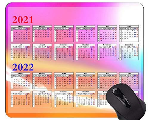 Yanteng 2021-2022 Calendar HD Font Mouse Pad Personalizado, Alfombrillas de Mouse temáticas Coloridas
