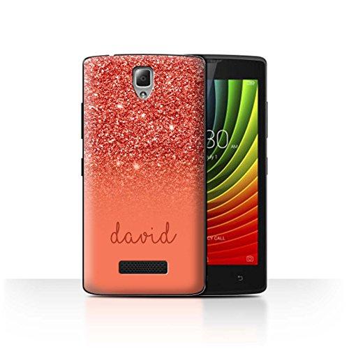 Personalisiert Hülle Für Lenovo A2010 Persönlich Glitter Effekt Rot Design Transparent Ultra Dünn Klar Hart Schutz Handyhülle Hülle