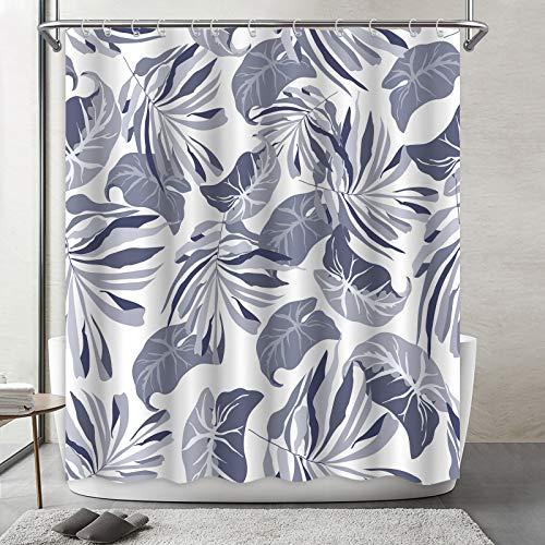 KSR Duschvorhang-Set, großes, grau-blaues Blättergewebe mit 12 Haken, wasserdichtes Polyester, dekoratives modernes Badezimmer-Zubehör, Standard 183 x 183 cm