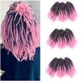 8inch 9 Bundles/Lot Marlybob Crochet Braids Hair Afro Kinky Curly Twist Ombre Braiding Hair Extensions for black women(T1B/Pink))