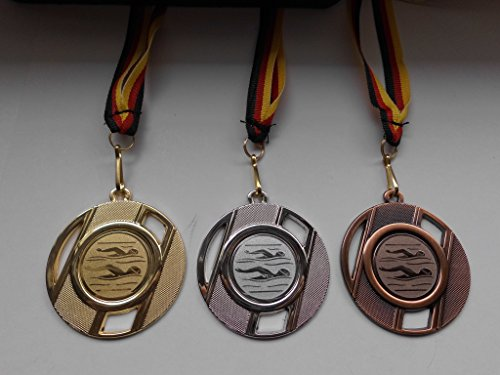 Fanshop Lünen Medaillen Set - aus Metall 50mm - Schwimmen - Schwimmensport - Gold, Silber, Bronze - Alu Emblem 25mm - Gold,Silber,Bronce - mit Medaillen-Band - Medaillenset - (e257) -