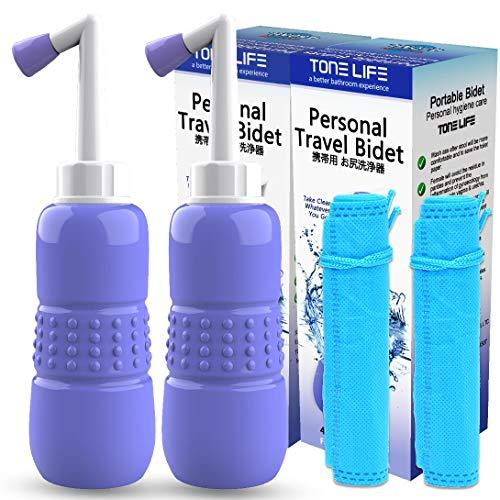 2PCS-Pack Travel Bidet Portable- 15oz 450ml Portable Bidet for Toilet - Handheld Personal Bidet- Puerpera Cleaner - with Storage Bag