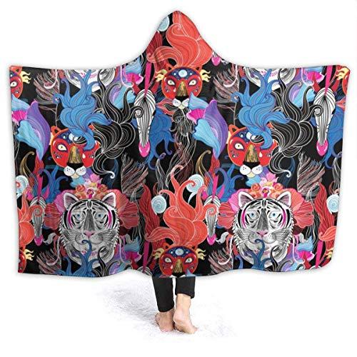 AEMAPE Manta con Capucha de Animales Salvajes con Estampado Floral Brillante, Mantas Personalizadas, Manta de Lana para niños, Adultos, 50x40 Pulgadas