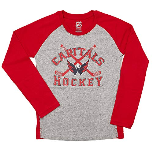 OuterStuff Youth NHL Intent Raglan Long Sleeve T-Shirt (Youth Large (14-16), Washington Capitals)