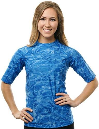 Aqua Design Womens Loose Fit Rash Guard UPF 50 Surf Swim Rashie Shirt L Royal Ripple product image