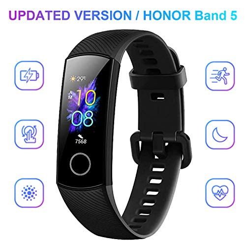 Honor Band 5 Montre Connectée Bracelet Connecté Podometre Cardio Homme Femme Enfant Smart Watch Android iOS Etanche IP68 Smartwatch Sport Running Sommeil Calorie, Noir(Version Globale)