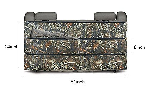 DETECH Camo Rifle Gun Rack Case Organizer Rifle Holster Sling for Most SUV Trucks Vehicle Back Seat Storage