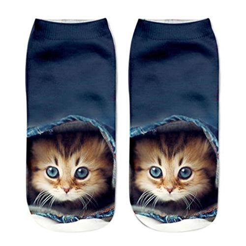 HENGSONG Women Men Socks Cute 3D Cat Printed Ankle Socks Sports Stocking (3#)
