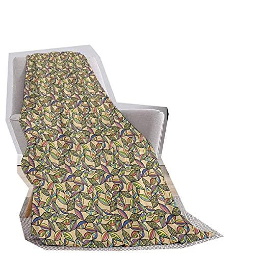 Manta abstracta suave de color pastel Follaje inspirado vintage hojas vibrantes patrón ornamental retro para un mejor sueño, multicolor ancho 70 x largo 70 pulgadas