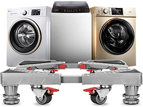 Adjustable Refrigerator Stand Portable Washer Dryer Stand Roller Washing Machine Dolly Pedestal Base Cabinet with 4 Double Wheels and 4 Feet