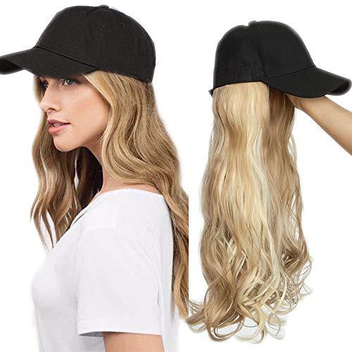 Haar Extension mit Baseballmütze Wig Haarverlängerungen Gewellt Haarteil wie Echthaar Sandy Blonde & Blond Bleichen#12P613