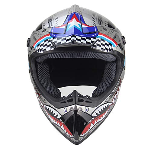 Motocross Helm Damen Herren Integralhelm mit Handschuhe Brillen Maske, MX Motorradhelm Roller, DOT Zertifiziert,L