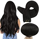 Full Shine Weft Hair 20 Inch Color 1B Off Black Hair Weft Extensions Real Human Hair Sew in Remy Human Hair Extensions Double Weft Hair Weave in Hair Straight Hair Bundles 100 Gram