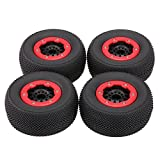 Goolsky 4Pcs AUSTAR AX-3008 High Performance 108mm 1/10 Scale Tires with Wheel Rim for 1/10 Short Racing Truck RC Car