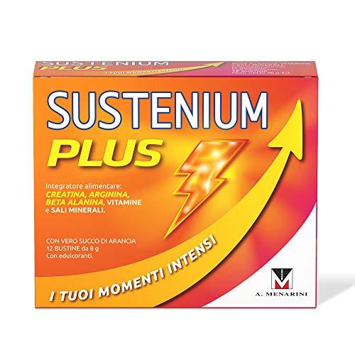 Sustenium Plus - L'Integratore Tonico a Base di Vitamine, Sali Minerali e con L'Aggiunta di Creatina per Avere Sempre il Massimo Dell'Energia, Arancia, Confezione da 12 Bustine da 8 Grammi