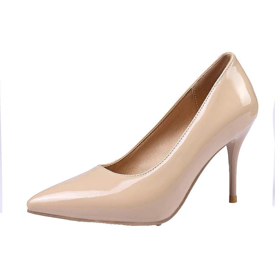 大騒ぎ有料センチメートル(オールエイチキューファッション) AllhqFashion レディース ハイヒール 純色 プルオン PUの皮 クローズドトゥ パンプス FBUDD011406