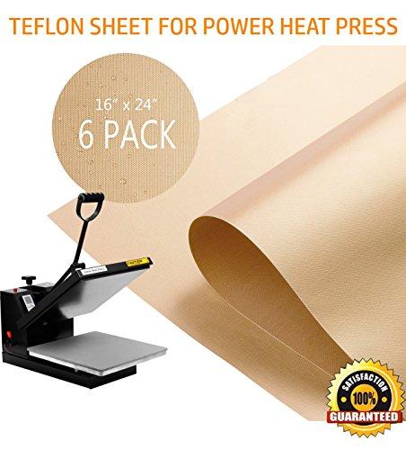 PowerPress 6 Pack Teflon Sheet for Heat Press Transfer Sheet Non Stick 16 x 24 Inch Heat Resistant Craft Mat