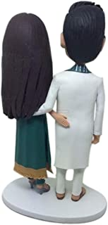 Traje tradicional indio Pastel de bodas personalizado Topper Bobble Head Figura de arcilla Boda india tradicional Pastel d...