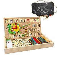✿ 【toy Giocattolo matematico multifunzionale】 - Lavagna e gesso per scrittura / disegno gratuiti. Pezzo di puzzle in legno per contare e apprendere numeri, impilare blocchi per ottenere buoni colori di apprendimento. Può essere utilizzato come strume...