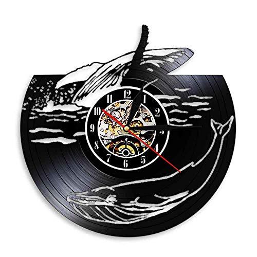 Liushenmeng Vinilo Reloj de Pared Animal Ballena Vinilo Pared Reloj Idea de Regalo Creativo Reloj De Pared Vintage Colgante Reloj De Pared Reloj Único diámetro 30cm