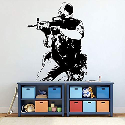 wZUN Troop Soldier Wall Decal Vinyl Soldier Army Troop Wall Sticker Home Decor Boy Bedroom Decoration 63X82cm